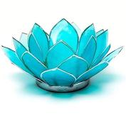 Lotus Chakra Tea Candle Holder Capiz Shell Blue Silver Trim Something Different