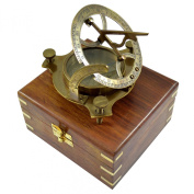 Antique Sundial Compass Replica 10cm in Hardwood Box - Solid Brass Pocket Sundial - West London