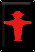 Tin Sign with Red and Green Traffic Light MAN Red