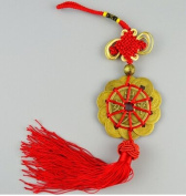 New Handcraft Set of 10 Chinese Traditional Ornamental Knot Tassel Feng Shui Lucky Charm Ancient I CHING Coins Prosperity Protection Red