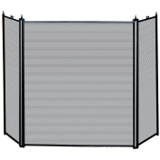 Home Discount® Kirby 3 Panel Fire Screen Spark Guard, Black