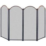 Home Discount® Stanton 4 Panel Fire Screen Spark Guard, Brass & Black