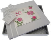 "White Cotton Cards ""50th Birthday - English Roses"" Guest Book"