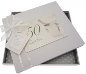 White Cotton Cards 50th Birthday Champagne and Bucket Guest Book