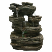 Zen'SCFR130 Pietra Fountain Light Stone, Nature, Grey, 25 x 17 x 35 cm