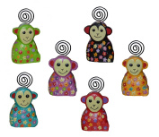 Set Of Six Hand Carved And Painted Wooden Monkeys Photo Holders Fairly Traded