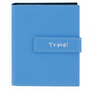"""Pioneer Photo Albums 36-Pocket 13cm by 18cm Embroidered """"Travel"""" Strap Sewn Leatherette Cover Photo Album, Mini, Blue"""