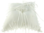 Wedding Ring Bearer Pillow 18cm , Double Bow & Pearl Edge