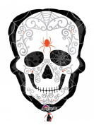Day of the Dead Skull with Spider Foil Balloon Halloween Party Deco white black 45x61cm