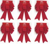 6 x Premier - Large Red Velvet Glitter Bow Christmas Decoration Bow - 25cm x 15cm