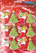 Pack Of 12 Novelty Christmas Peg Card Holder On Ribbon Tree & Stocking - 2M