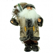 Traditional Santa Christmas Figure in Linen/Hessian Outfit