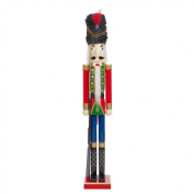 The Christmas Workshop 84650 100 cm Tall Wooden Soldier Nutcracker on Stand, Multi-Colour