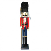 The Christmas Workshop 81570 30 cm Tall Wooden Soldier Nutcracker on Stand, Multi-Colour
