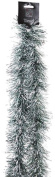 Snow White Branded Snow Tipped 2.7m Decorative Christmas Tinsel Garland - Dark Green & Silver