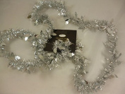 2 Metre Silver Christmas Tinsel With Holly - Christmas Tree Decoration