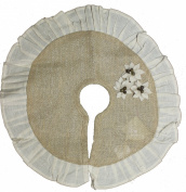Burlap Poinsettia Tree Skirt w/Cream Ruffle