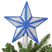 Christmas Tree Decorations 20Cm Silver,Blue Glitter Star Tree Topper Tree Top Decoration