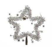 27cm Tinsel Star with Bells Tree Topper Silver