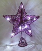 25cm Purple Springy Star With White Led Lights - Christmas Tree Top Star / Christmas Decoration
