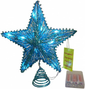 25cm Turquoise Springy Star With White Led Lights - Christmas Tree Top Star / Christmas Decoration