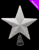 26cm Sparkly White Tree Top Star - Christmas Decorations - Christmas Tree Trims.