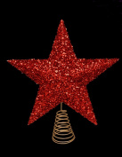 27cm Beautiful Red Sparkly Tinsel Tree Top Star - Christmas Tree Topper