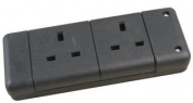 EXTENSION SOCKET 2 GANG BLACK 9148 BLACK By PRO ELEC