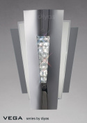 Vega Wall Lamp 2 Light Stainless Steel/Crystal