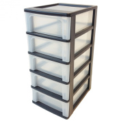 Iris Ohyama Europe OCH-2005 Plastic A-4 Drawer Chest with 5-Drawer Organiser, Black