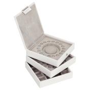 STACKERS jewellery box   white & grey charm velvet stacker set of 3