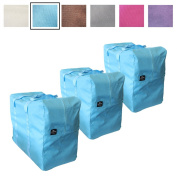 3 Pack - Big Handy Bag By Luxelu in Sky Blue - For Stylish Storage, Laundry, Home Organisation Etc - Large and Reusable - Available in 6 Stunning Colours