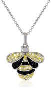 Sterling Silver Yellow and Black Crystal Honey Bee Pendant Necklace, 46cm