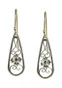 Sterling Silver Tear Drop Shaped Dangle Earrings, Floral Filigree, Antique Style Earrings