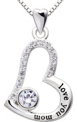 """ALOV Jewellery Sterling Silver """"love you mom"""" Love Heart Pendant Necklace for Birthday, Mother's day,Christmas Gift"""