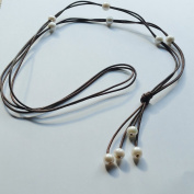High Quality Handcrafted Freshwater Lariat 10 Pearl and Leather Necklace