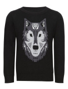 Baby Boys Black Wolf Jumper
