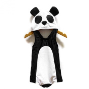 LOCOMO Cute Boy Girl Kid Unisex Panda Swimwear Swimsuit Bikini Bodysuit Hat Cap Black White Large FBS002L