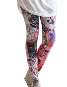 Allegra K Women Elastic Waist Cartoon Graffiti Skinny Leggings Footless Tights