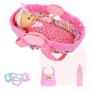 ZUINIUBI Simulation Blink Girl Baby Dolls Figure with Doll Bed Hand Rattle 12 Type Voice Children Role Play Pretend Game Toy