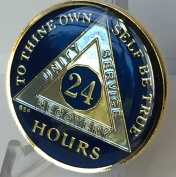 24 Hours Midnight Blue AA Alcoholics Anonymous Medallion Chip Tri Plate Gold & Nickel Plated