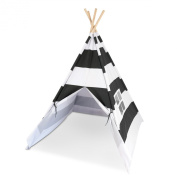 Kids Teepee - Canvas Teepee Tent with Window and Carry Case - Charcoal Grey - By Tiny Hideaways