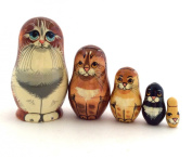 Red Cat Nesting dolls Russian Hand Carved Hand Painted 5 piece matryoshka Set