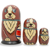 13cm Set of 3 Brown Dog with Ball Wooden Russian Nesting Dolls