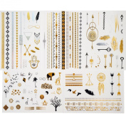 Tastto 5 Premium Sheets Metallic Gold, Silver, Flash Temporary Tattoos for Women & Girls - Waterproof Trending Top Fashion Accessory - Over 85+ Tattoos + Mini Tattoo as Gift