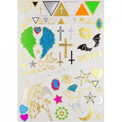 Tastto Multicoloured Metallic Temporary Tattoos - Gold, Silver - Over 60 Tattoos