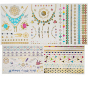 Tastto 5 Premium Sheets Metallic Temporary Tattoos for Women & Girls - Multicoloured, Gold, Silver - Waterproof Trending Top Fashion Accessory - Over 50+ Tattoos + Mini Tattoo as Gift