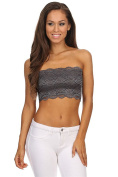 TL Women's Full Floral Lace Strapless Seamless Stretchy Bandeau Tube Bra Top