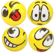Set of 4 Assorrted Big Happy Face Hand Wrist Finger Exercise Stress Relief Therapy Squeeze Ball