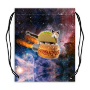 Funny Taco Cat Riding Hamburger in Space Sport Ball Drawstring Backpack, Basketball Drawstring Bags Backpack - 42cm (W) x 49cm (H), Twin-sided Print